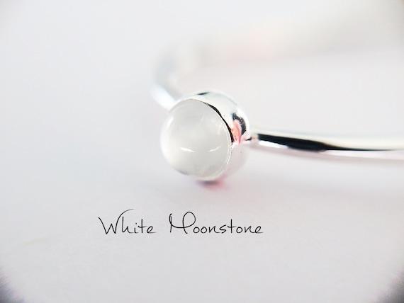 Moonstone Stacking Ring, Moonstone Ring, Engagement Ring, June Birthstone, White Moonstone, Gemstone Stacking Ring, White, Moonstone, Gift