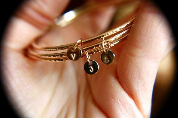 Personalized Bangle, Custom initial charm bracelet, Yellow Gold bangle, Textured initial bangles, Bridesmaids gift, Stacking Bangle, Gift