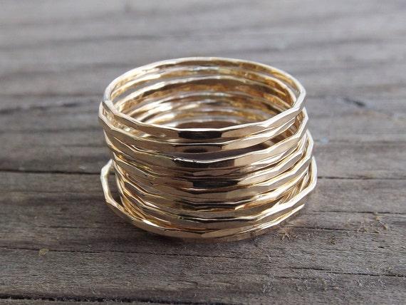 12 Super Skinny Stacking Rings Set,Edge Textured Ring Set,Ring Set,Textured Rings,Boho Stacking Rings,Minimalist,Modern,Skinny Ring,Gift