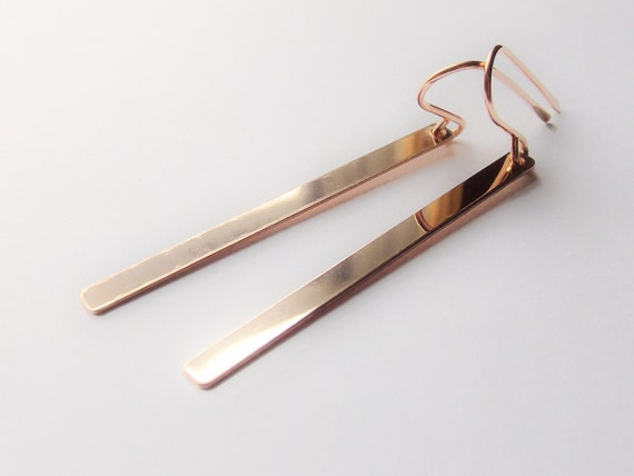 Long Rose Gold Bar Earrings, Rose Gold Earrings, Everyday Earrings, Dangle Earrings, Smooth Bar Earrings, Minimalist Bar Earrings, Slim