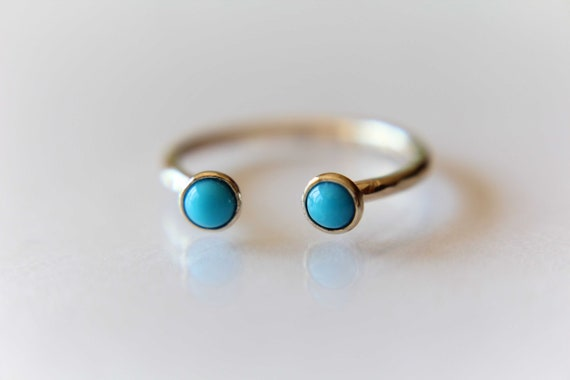 Dual Open Ring, Open Ring, Gold Open Gemstone Ring, Double Turquoise Ring, Midi Ring, Open Turquoise Ring, Stacking Ring,Gold Turquoise Ring