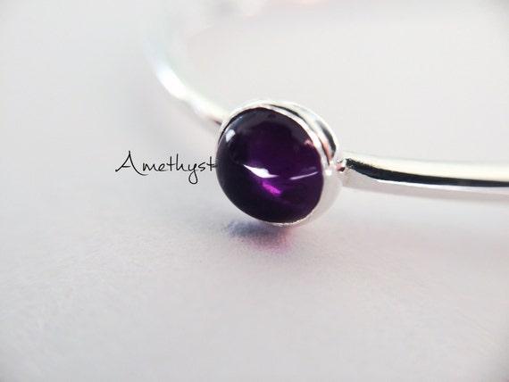 SALE-Amethyst Stacking Ring, Amethyst Ring, Natural Gem Ring, February Birthstone, Amethyst, Gemstone Stacking Ring, Purple, Amethyst, Gift