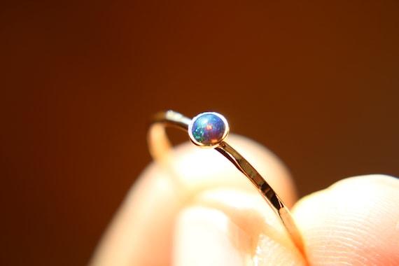 Textured Opal Stacking Ring, Slim Ring, Stacking Gemstone Ring, Opal Rings, Textured Rings, Wisper Gemstone Rings, Gift, Black Opal, Gift