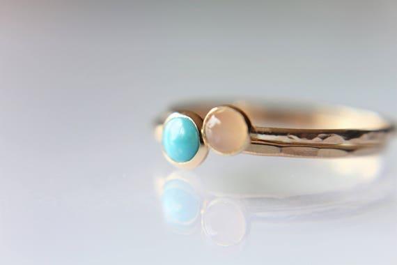 Turquoise Stacking Ring Set, Turquoise  Ring, Natural Gemstone Ring, Turquoise, Turquoise Jewelry, Peach Moonstone Ring, Gold Rings, Gift