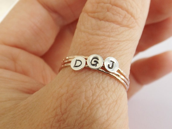 Skinny Initial Stacking Ring, Personalized Ring, Minimalist Ring, Initial Ring, Notched Stacking Ring, Gold Ring, Ring, Couples Rings, Fancy