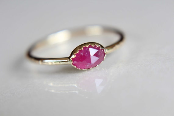 Ruby Ring, Oval Ruby, Stacking Ring, 14k Gold Ruby Ring, Natural Ruby, Genuine Ruby Ring, Simple, Minimal, Boho, Modern, Gypsy, Gift