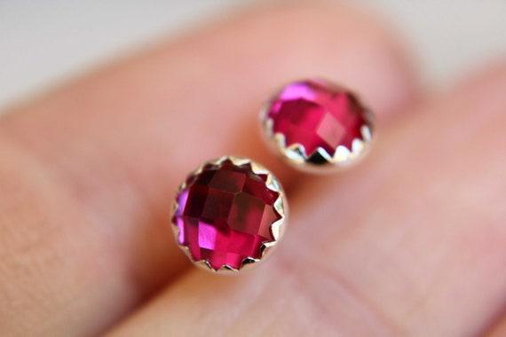Ruby Earrings, Silver Studs, Checkerboard Ruby Earrings, Ruby Studs, Simple Earrings, Birthstone Earrings, Pink, Gemstone Earrings, Gift
