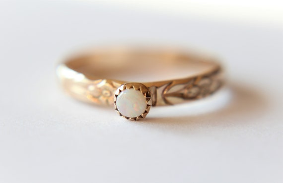 Opal Ring, Gold Opal Ring, Engagement Ring, Opal Engagement Ring, June Birthstone, Gemstone Stacking Ring, White Opal Ring, Gift, Natural