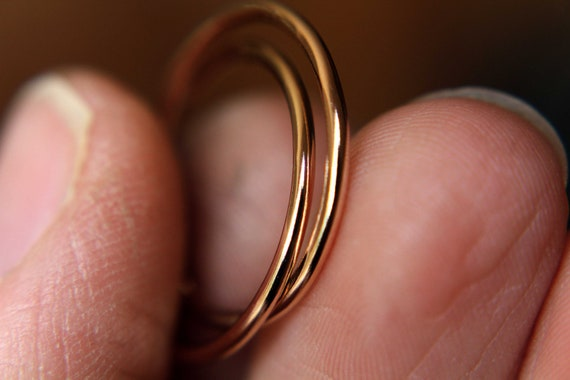 Gold Interlocking Thumb Rings,Thumb Rings,Gold Thumb Ring,Simple Rings,Rolling Ring,Stacking Rings, Minimalist Rings,Unique Ring,Rose Gold