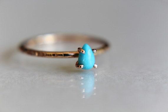 Turquoise Stacking Ring, Turquoise  Ring, Natural Gemstone Ring, Turquoise, Turquoise Jewelry, Gemstone Stacking Ring, Pear, Teardrop, Gift