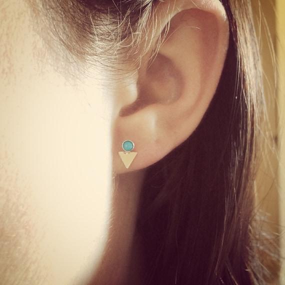 Triangle Earrings,Changeable Earrings,Ear Jackets,Gemstone Earrings,Turquoise Earrings,Boho Chic Jewelry,Modern Stud Earrings,Minimalist