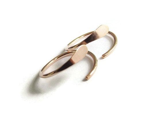 Choose Your Sleeper Earring,Sleeper Earrings,Hoop Earrings,Hammered Earrings,Circle, Rose Gold Earrings, Modern Jewelry, Minimalist