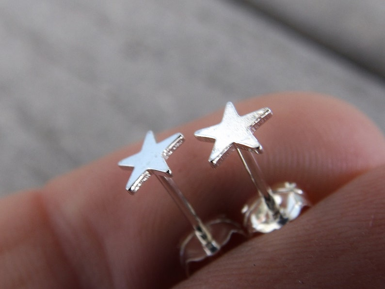 3b30bded9 Sterling Silver Tiny Star Earrings Silver Stud Earring Small | Etsy