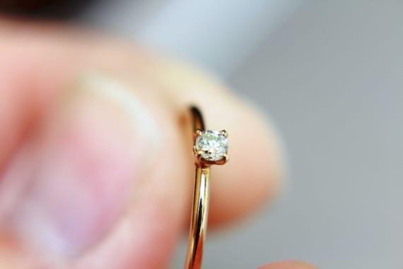 Diamond Ring, Genuine White Diamond Ring, White Diamond, Simple Diamond Ring, Minimal, Gift, April Birthstone Ring, Gold Diamond Ring, Gift