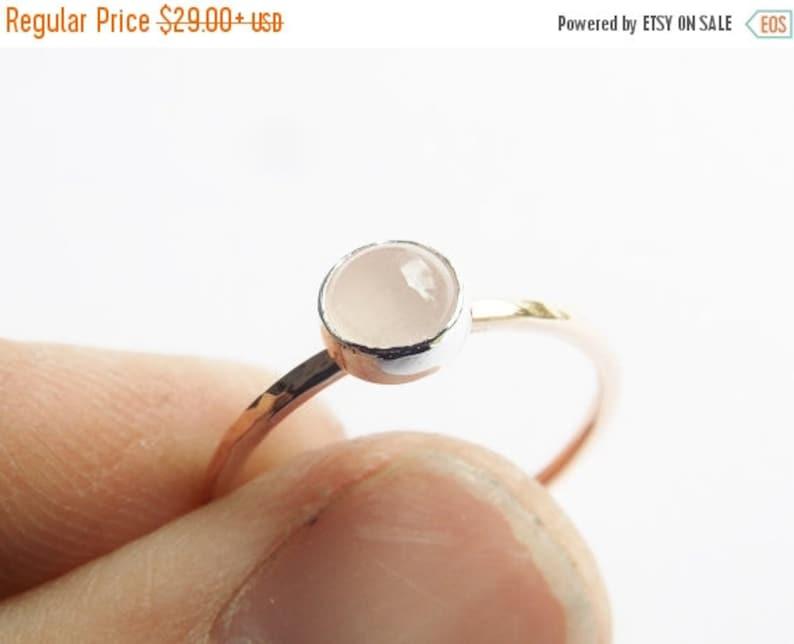 Unique Design Faceted Ring Rose Quartz Ring Boho Mixed Metal Stacking Ring Rose Gold Ring Quartz Stacking Ring Gold /& Silver Ring