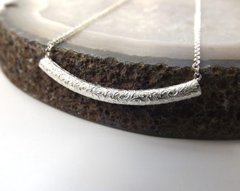 Tube Necklace, Minimalist Jewelry, Sterling Silver Necklace, Necklace, Sterling Tube Necklace, Paisley Tube Necklace