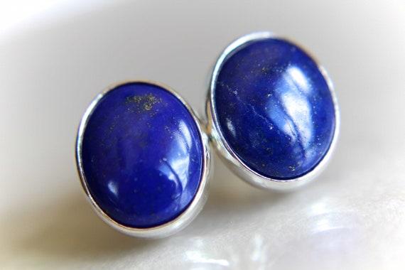 Lapis Lazuli Earrings, Lapis Lazuli Post Earrings, Boho Chic Earrings, Bold Earring, Boho Minimalist Post Earring, Everday Gemstone Earrings