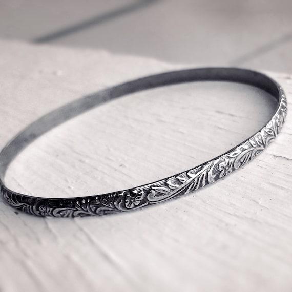 Floral Bangle, Bangle Bracelet, Thick Bangle, Floral Jewelry, Boho Chic, Gypsy, Stacking Bangle, Floral, Minimalist, Vintage Inspired