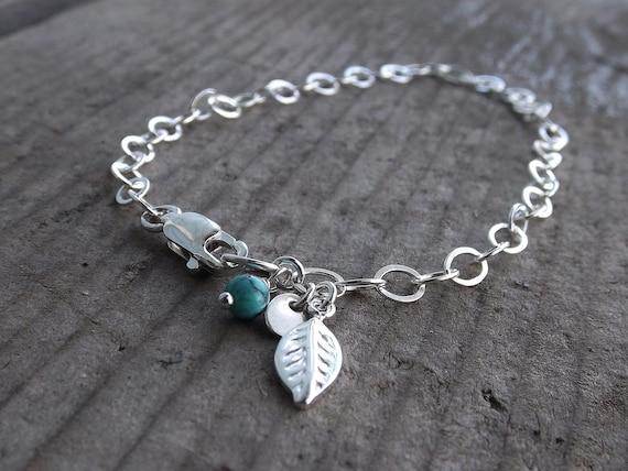 Initial Bracelet, Leaf Bracelet, Turquoise Bracelet, Boho Chic Bracelet, Personalized Bracelet, Layer Bracelet, Stacking Bracelet, Minimal