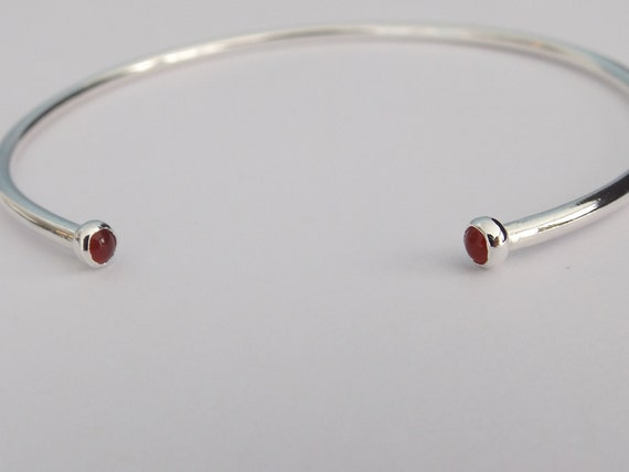 Open Silver Cuff Bracelet, Double Stone Cuff Bracelet, Carnelian Cuff, Carnelian Bracelet, Simple, Layer Bracelet, Carnelian, Horseshoe