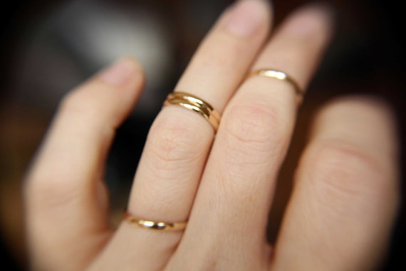 Set of 4 Knuckle Rings, Knuckle Rings, Knuckle Ring Set, Stacking Rings, Above Knuckle Ring, Slim Knuckle Rings, Half Round Rings, Gold,Gift