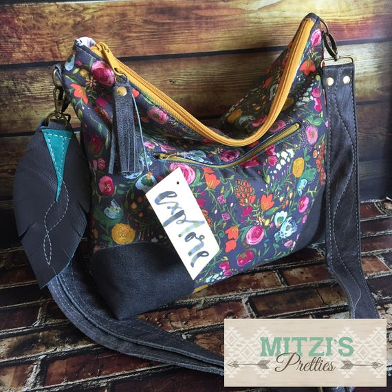 MADE TO Order Slouchy Floral Hobo w  Water Buffalo Leather  871a118055040