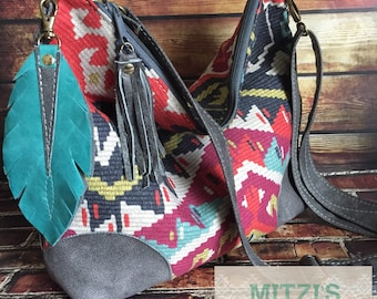 Made to Order Aztec Slouchy Hobo w/ Gray Leather, Feather & Crossbody Strap