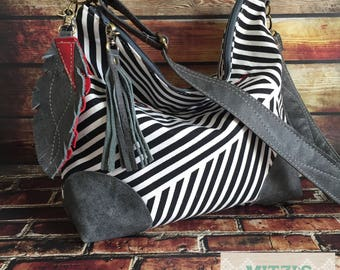 Made to Order Slouchy Hobo w/ Genuine Leather Patches, Feather & Crossbody Strap