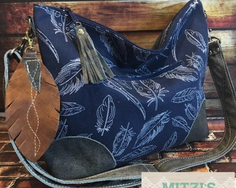 Made to Order Slouchy Hobo w/ DISTRESSED Leather, Feather & Crossbody Strap