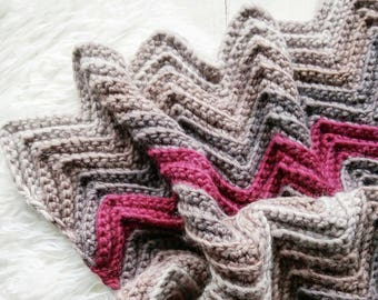 Crochet PATTERN - The Barton blanket / Chunky Crochet Wool Throw Blanket Afghan