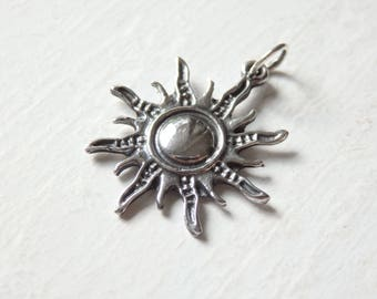 Silver sun pendant etsy sterling silver sun pendant one 925 silver sun pendant 23x25mm thai silver sun pendant sun charm ethnic pendant from thailand 1 pc mozeypictures Choice Image