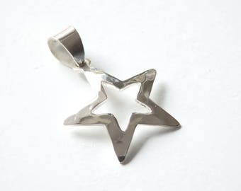 Star pendant etsy sterling silver star pendant with bail one piece 21x30mm hammered silver pendant 925 sterling silver pendant 925 silver star pendant aloadofball Choice Image
