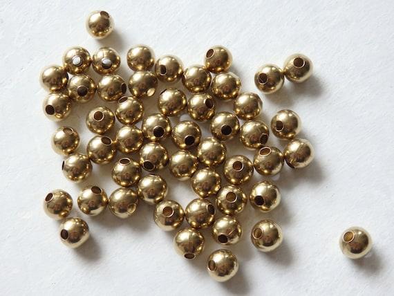 50 Anitqued Brass Round Brush Beads 8mm