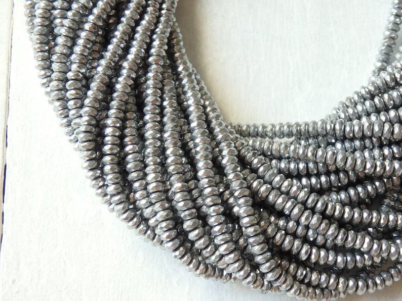 1 Strang Hämatit Perlen Rondelle ca.4x2mm