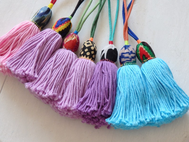 pastel shades Handmade Hmong tassel accessories yarn Hill Tribe tassel with long loop for bags ONE home decor ONE ethnic tassel