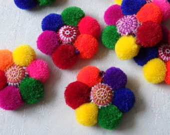 ONE Thai pompom decoration with embroidered cushion and jump ring for bag charms, accessories, jewelry, phones, pom pom bag charm - 1 pc.