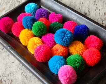 """25 Hmong hill tribe pom poms, assorted colours, Standard size, ethnic yarn pompoms, approx. 20-25mm / 3/4"""", 25 pcs."""