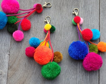 ONE handmade Thai pompom decoration with brass spring clip for bags, home decor, pompom cluster, Hmong pom pom decoration for bags - ONE