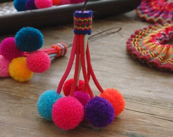 Thai pompom decoration with long loop for bag charm, accessories, jewellery, cell phones, pompom dangle, Hmong ethnic decoration - ONE