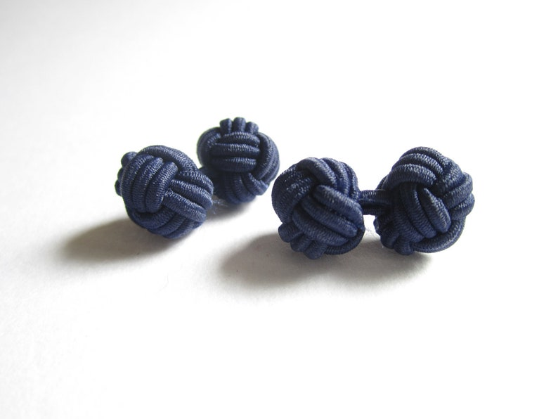 Chinese knot cuff links stocking stuffer gift for groomsmen stretch knot cuff links for women or men gift under 10 very DARK BLUE