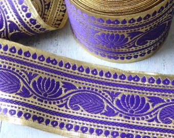 2 yds. Extra wide Purple & Gold sari trim, Luxurious Indian sari border with lotus flower pattern, 85mm wide, TWO yards