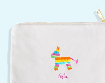 bridesmaid makeup bag - bridesmaid favor - bridesmaid cosmetic bag - cinco de mayo favor - pinata bag - pinata artwork - bridesmaid gift