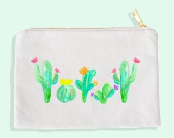 cactus cosmetic bag - cactus  bag - cactus makeup - cactus makeup bag - watercolor cactus - cactus watercolor - - cactus bachelorette