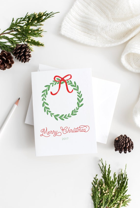 christmas wreath christmas cards watercolor christmas cards | Etsy