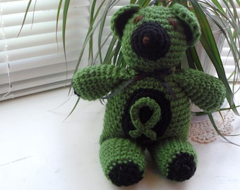 Crocheted CEREBRAL PALSY Awareness Teddy Bear - Kelly Green / black