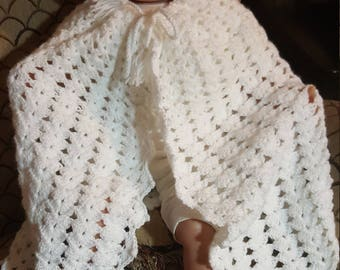 White hooded baby cape 3 to 6 mo plus