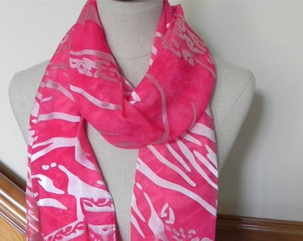 Devore satin shawl with fringe hand dyed in shades of magenta red, large silk scarf #514, ready to ship