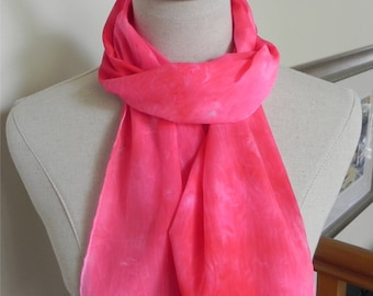 Hand dyed crepe silk scarf in shades of rosy red and pink, unique silk scarf #470, Ready to ship