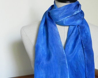 Blue silk scarf hand painted in shades of blue, oblong flat crepe silk scarf is ready to ship, scarf #523
