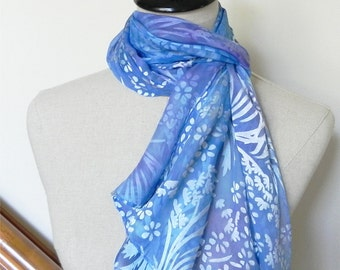 Hand dyed Devore satin silk scarf shades of blue and purple is ready to ship silk scarf #508